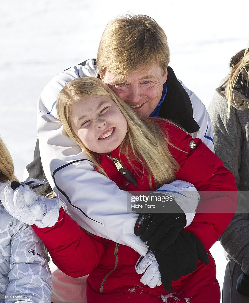 Crown Prince Willem Alexander and Princess Amalia of The Netherlands pose at the annual winter photocall on February 18, 2013 in Lech, Austria.