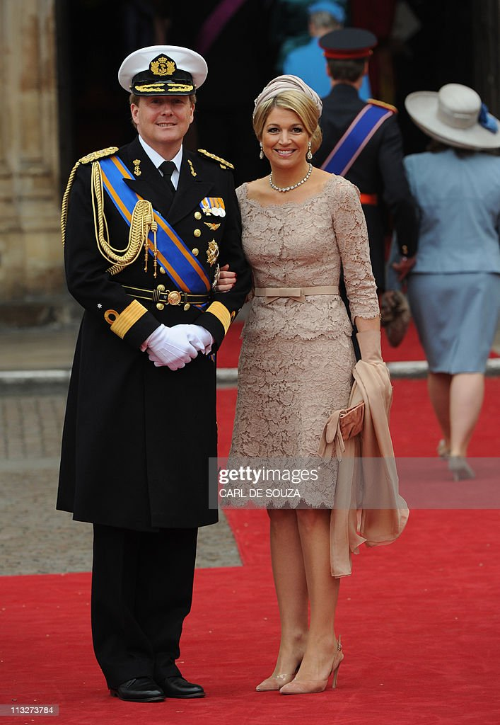 Crown Prince Willem Alexander and Princess Maxima of The Netherlands arrive at the West Door of Westminster Abbey for the wedding of Britain's Prince William and Kate Middleton in London on April 29, 2011.