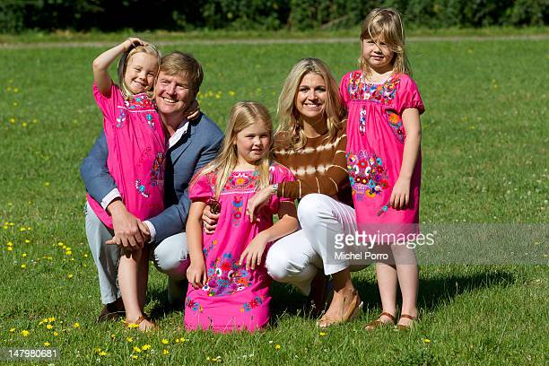 Crown Prince Willem Alexander and Princess Maxima of the Netherlands pose with their daughters Princess Ariane Princess Amalia and Princess Alexia...