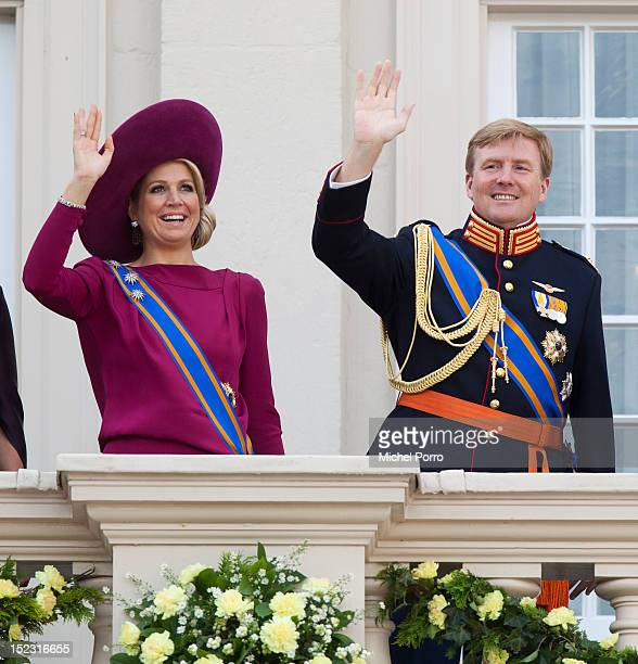 Crown Prince Willem Alexander and Princess Maxima of The Netherlands wave from the Noordeinde Palace balcony after attending Budget Day announcement...