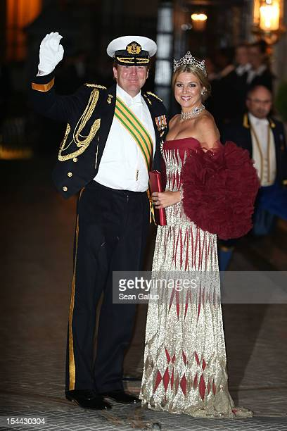 Crown Prince Willem Alexander and Princess Maxima of The Netherlands attend the Gala dinner for the wedding of Prince Guillaume Of Luxembourg and...