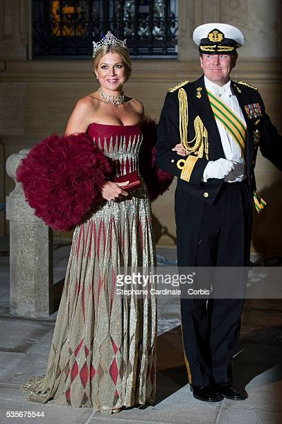 Crown Prince Willem Alexander and Princess Maxima of The Netherlands attends the Gala dinner for the wedding of Prince Guillaume of Luxembourg and...