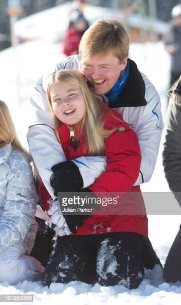 Crown Prince Willem Alexander of Holland, and his daughter Princess Catharina Amalia, pose for photographs during thier annual winter skiing holiday,...