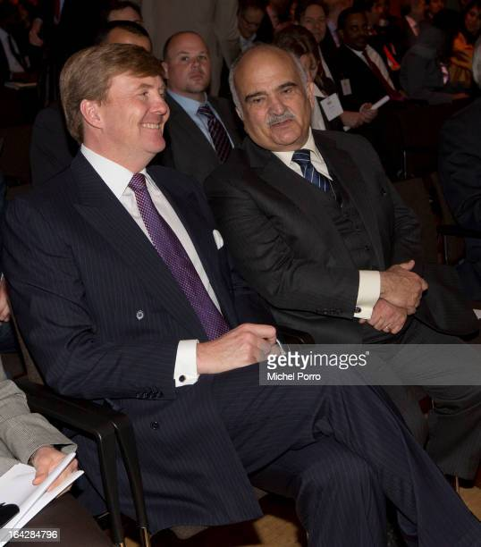 Crown Prince Willem Alexander of The Netherlands and Prince Hassan of Jordan attend World Water Day meeting on March 22, 2013 in The Hague,...