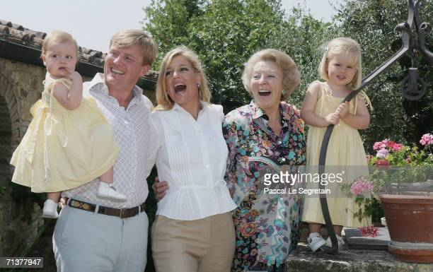 Crown Prince Willem Alexander of the Netherlands, Princess Alexia , Crown Princess Maxima of the Netherlands, Queen Beatrix of the Netherlands and...