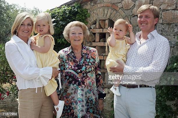 Crown Prince Willem Alexander of the Netherlands Princess Alexia Crown Princess Maxima of the Netherlands Queen Beatrix of the Netherlands and...