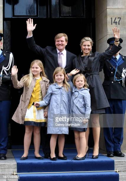 Crown Prince Willem Alexander Princess Maxima of The Netherlands and children Princess Amalia Princess Alexia and Princess Ariane arrive for an...
