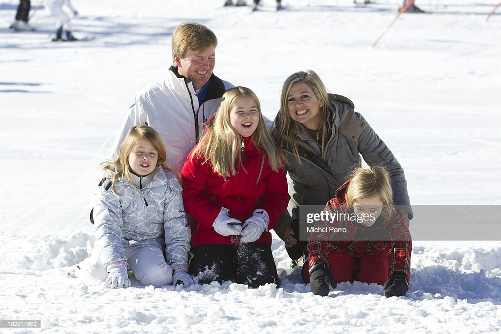 Crown Prince Willem Alexander, Princess Maxima, Princesses Alexia, Amalia and Ariane of The Netherlands poses at the annual winter photocall on February 18, 2013 in Lech, Austria.