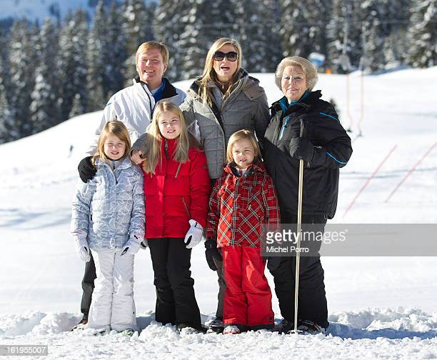 Crown Prince Willem Alexander Princess Maxima Queen Beatrix Princesses Alexia Amalia and Ariane of The Netherlands pose at the annual winter...