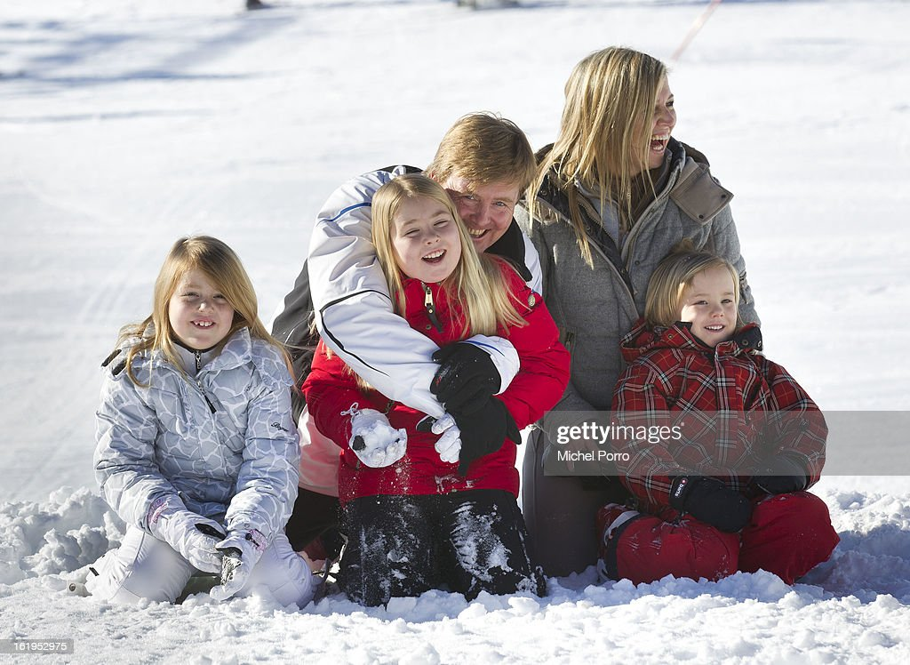 Crown Prince Willem Alexander, Princess Maxima with Princesses Alexia, Amalia and Ariane of The Netherlands pose at the annual winter photocall on February 18, 2013 in Lech, Austria.