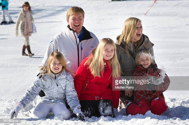 Crown Prince Willem Alexander Princess Maxima with Princesses Alexia Amalia and Ariane of The Netherlands pose at the annual winter photocall on...