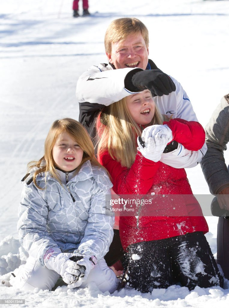 Crown Prince Willem Alexander, Princesses Alexia and Amalia of The Netherlands pose at the annual winter photocall on February 18, 2013 in Lech, Austria.