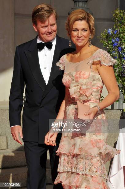 Crown Prince WillemAlexander and Crown Princess Máxima of the Netherlands attend the Government PreWedding Dinner for Crown Princess Victoria of...