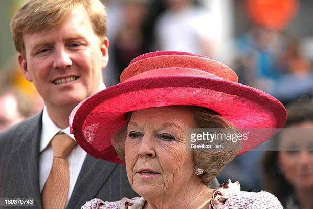 Crown Prince WillemAlexander and Dutch Queen Beatrix of the Netherlands attend the traditional Queens Day celebrations on April 30 2005 in...