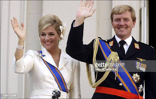 Crown Prince WillemAlexander and Princess Maxima wave to the gathered audience from the balcony of the Palace Noordeinde in The Hague Netherlands on...