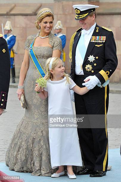 Crown Prince Willem-Alexander, Crown Princess Maxima and their daughter Catharina-Amalia attend the wedding of Crown Princess Victoria of Sweden and...