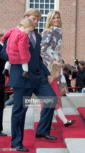 Crown Prince WillemAlexander Crown Princess Maxima Daughter CatharinaAmalia Alexia Attend The Christening Of Prince Constantijn Princess Laurentien...