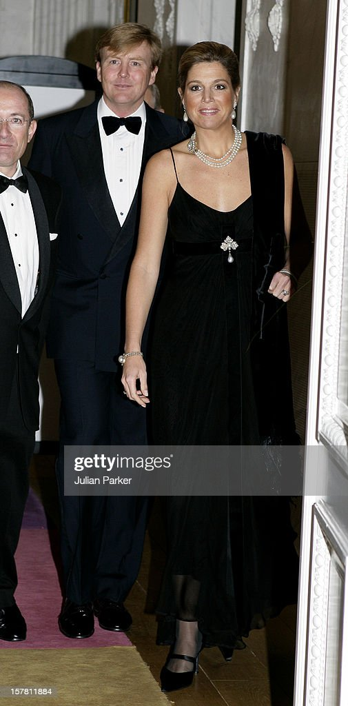Crown Prince Willem-Alexander & Crown Princess Maxima Attend A Gala Dinner In The Hague : News Photo