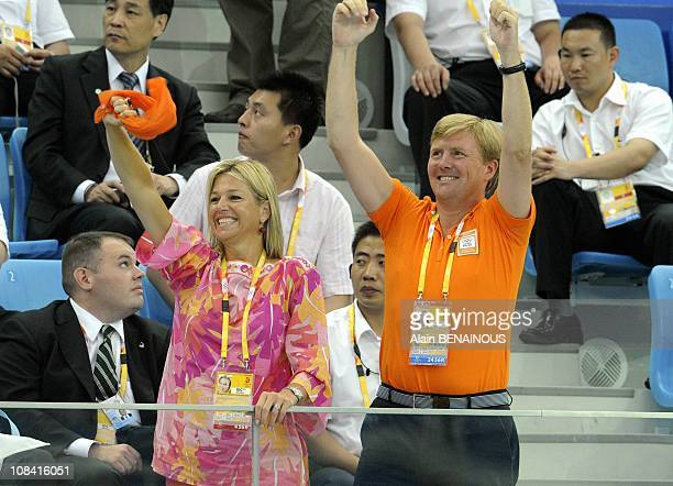 Crown Prince Willem-Alexander of the Netherlands and Princess Maxima with Crown Prince Frederik of Denmark and his wife Crown Princess Mary attend...