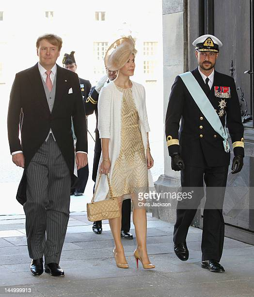 Crown Prince WillemAlexander of the Netherlands Crown Princess Mary of Denmark and Crown Prince Haakon of Norway attend the christening of new...