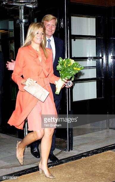 Crown Prince Willemalexander Of The Netherlands Prince Of Orange And His Wife Crown Princess Maxima Smiling As They Leave The Royal Society For The...