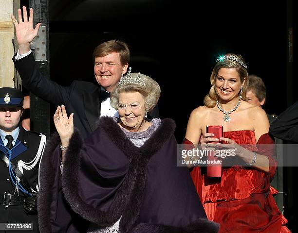 Crown Prince WillemAlexander of the Netherlands Princess Maxima of the Netherlands and Queen Beatrix Of The Netherlands leaves the Royal Palace on...