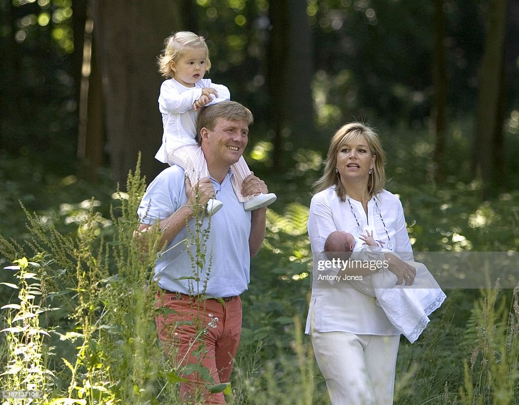 Williem-Alexander, Maxima & Daughters Amalia & Alexia At Their House In Wassenaar : News Photo