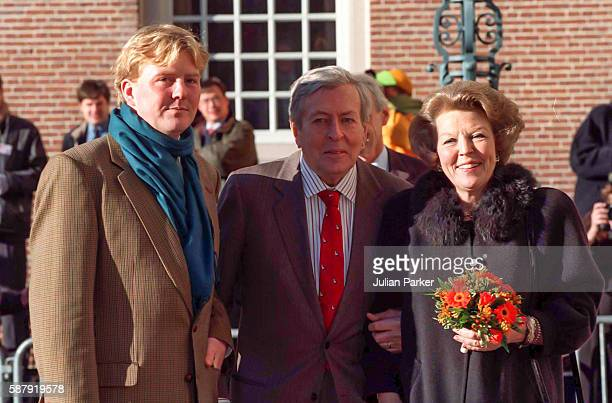 Crown Prince Williem Alexander of the Netherlands, Prince Claus, and Queen Beatrix of the Netherlands on a visit to The Paleis Het Loo National...