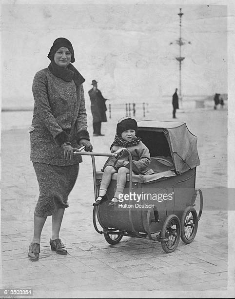 Crown Princess Astrid Of Belgium Likes to take her children out for walks herself on the front at Ostend Princess Josephine is seen riding on the...