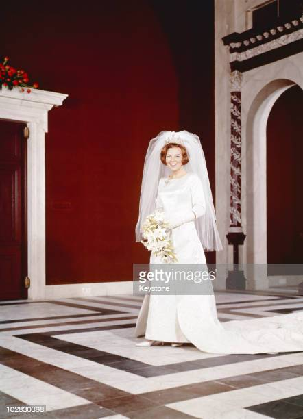 Crown Princess Beatrix of the Netherlands after her wedding to Claus von Amsberg in the Town Hall in Amsterdam, Holland, 10 March 1966.