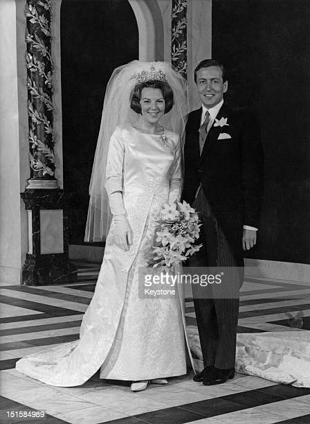 Crown Princess Beatrix of the Netherlands and Claus von Amsberg at the Royal Palace before their wedding Amsterdam 10th March 1966