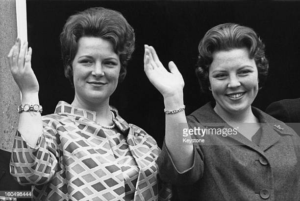 Crown Princess Beatrix of the Netherlands and her sister Princess Irene during celebrations for the Queen's birthday, April 1961.