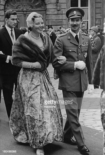 Crown Princess Beatrix of the Netherlands and Prince Jan of Luxembourg April 1958 They are attending the wedding of Princess Marie Adelaide of...