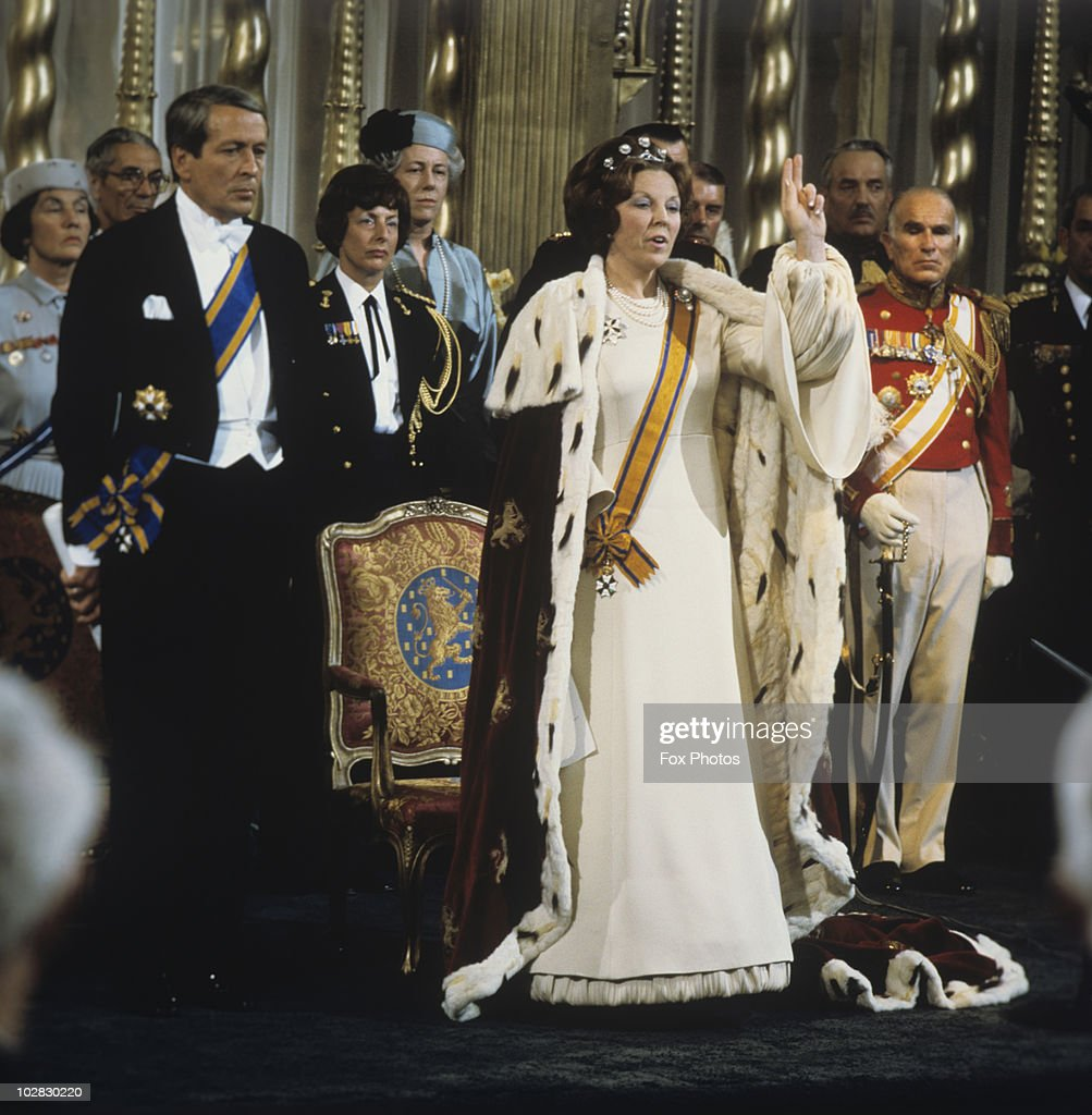 Crown Princess Beatrix of the Netherlands is crowned Queen following the abdication of Queen Juliana of the Netherlands, Amsterdam, Holland, 30 April 1980. Prince Claus of the Netherlands (1926-2002) is at the side of Queen Beatrix.