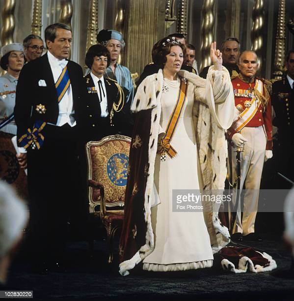 Crown Princess Beatrix of the Netherlands is crowned Queen following the abdication of Queen Juliana of the Netherlands, Amsterdam, Holland, 30 April...