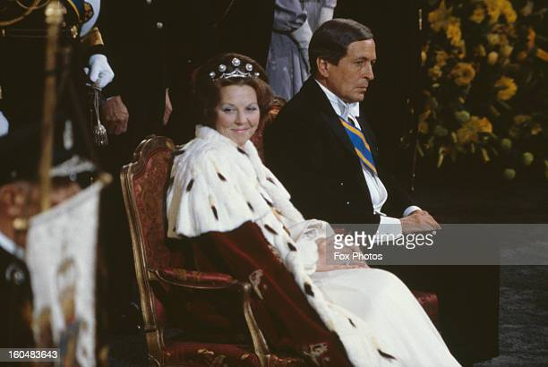 Crown Princess Beatrix of the Netherlands is crowned Queen following the abdication of Queen Juliana of the Netherlands, at the New Church in...