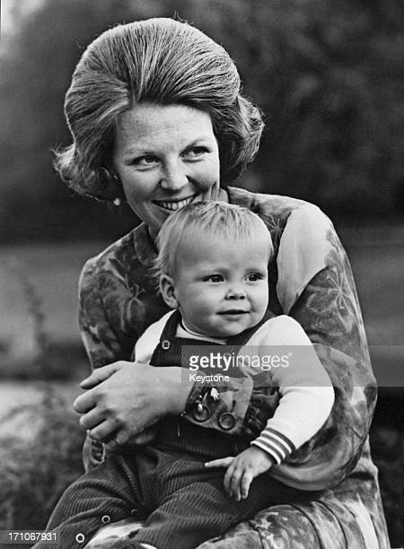 Crown Princess Beatrix of the Netherlands with her fifteenmonth old son Prince Constantijn 27th January 1971