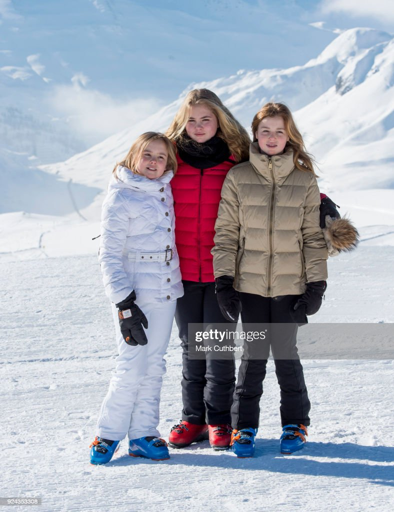 Crown Princess Catharina-Amalia of the Netherlands, Princess Alexia of the Netherlands and Princess Ariane of the Netherlands attend a photocall during a skiing trip on February 26, 2018 in Lech, Austria.