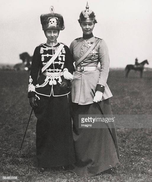 Crown Princess Cecilie of Prussia and Princess ViktoriaLuise as regiment holders of Prussian regiments Photography around 1910 [Kronprinzessin...