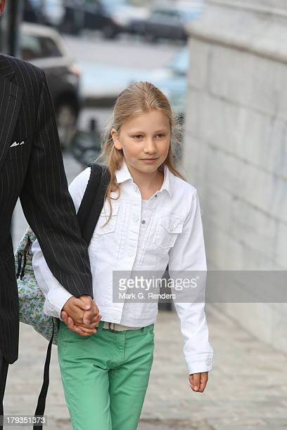 Crown Princess Elisabet of Belgium arrives for the first day of school at the SintJanBerchmans College on September 2 2013 in Brussel Belgium