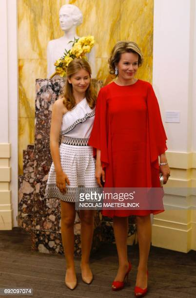 Crown Princess Elisabeth and Queen Mathilde of Belgium pose after the finals of the Queen Elisabeth Competition Cello 2017 in Brussels on June 3 2017...