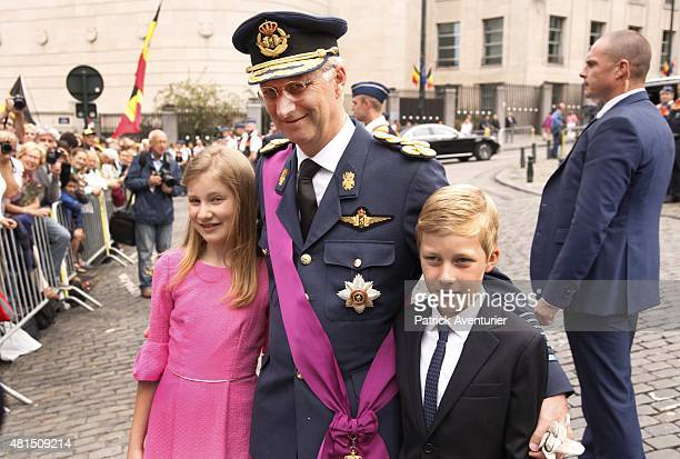 Crown Princess Elisabeth King Philippe of Belgium and Prince Emmanuel attend the Te Deum mass at the Cathedral of St Michael and St Gudula on July 21...