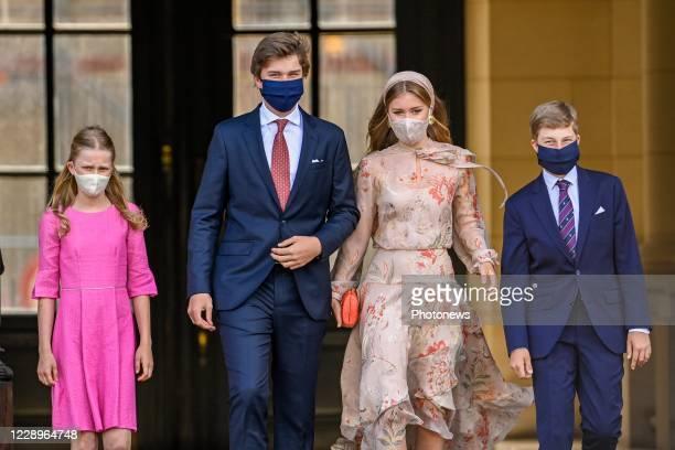 Crown Princess Elisabeth of Belgium, Prince Gabriel of Belgium, Prince Emmanuel of Belgium and Princess Eleonore of Belgium pictured during the...
