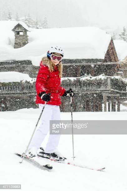 Crown Princess Elisabeth of Belgium skies during her winter holidays on March 3 2014 in Verbier Switzerland