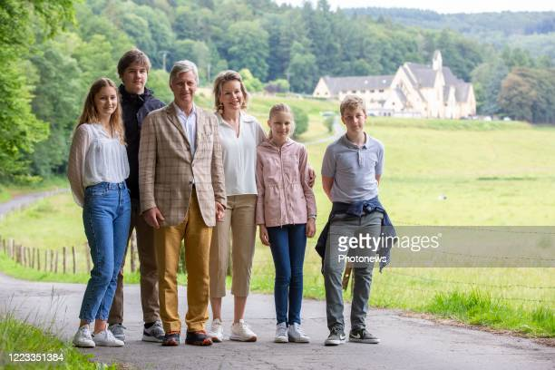 Crown Princess Elisabeth, Prince Gabriel, King Philippe of Belgium, Queen Mathilde of Belgium, Princess Eleonore and Prince Emmanuel during a visit...