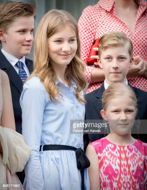 Crown Princess Elisabeth Prince Gabriel Prince Emmanuel and Princess Eleonore of Belgium attends the 80th birthday celebrations of Belgian Queen...