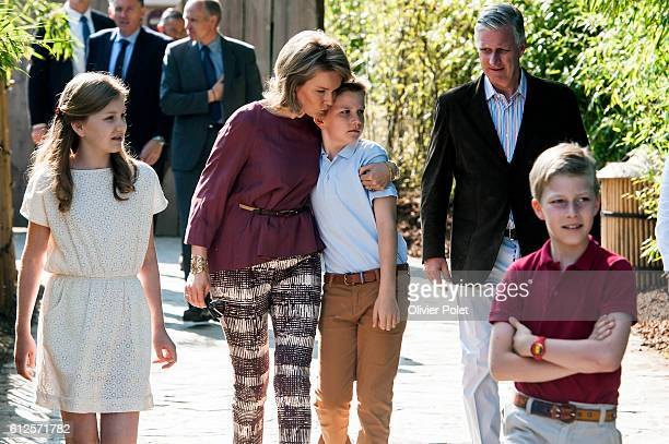 Crown Princess Elisabeth Queen Mathilde of Belgium Prince Gabriel King Philippe Filip of Belgium and Prince Emmanuel pictured during a photoshoot of...
