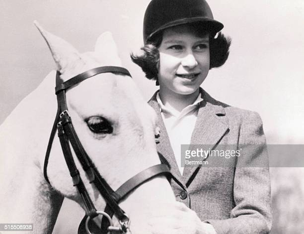 Crown Princess Elizabeth of Great Britain later Queen Elizabeth II with her pony at age 10