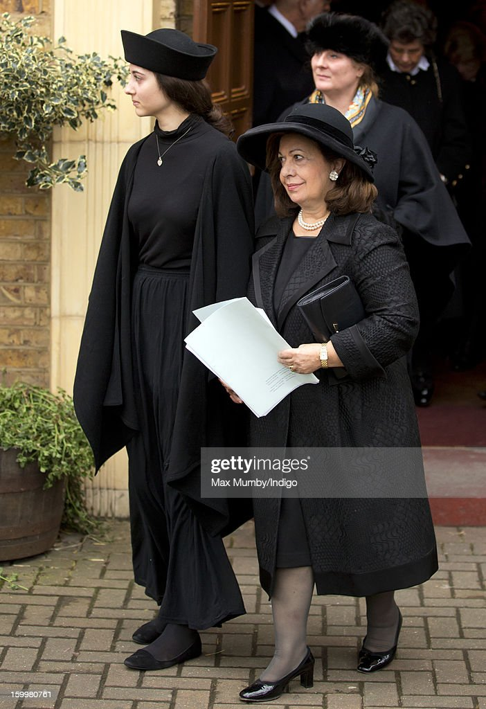 Crown Princess Katherine of Yugoslavia (R) attends the funeral of Princess Margarita of Baden, niece of Prince Philip, Duke of Edinburgh at the Serbian Orthodox Church of Saint Sava on January 24, 2013 in London, England.