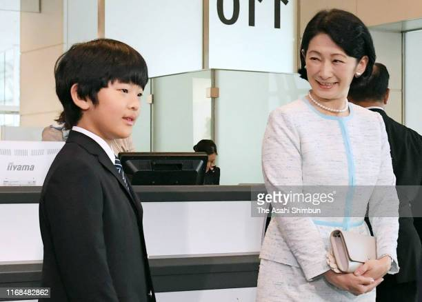 Crown Princess Kiko of Akishino and Prince Hisahito are seen on departure for Bhutan at Haneda Airport on August 16 2019 in Tokyo Japan